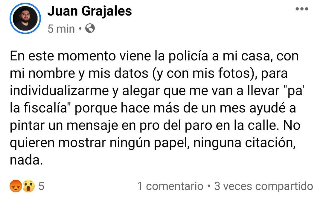 Denuncia del joven Juan Grajales