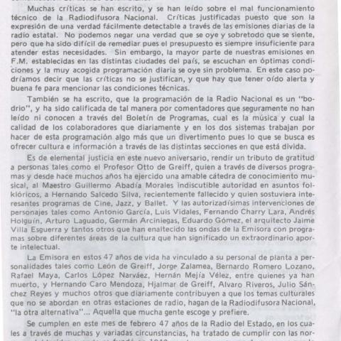 Editorial 47 años de la Radiodifusora Nacional de Colombia. 1987