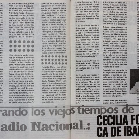 Añorando los viejos tiempos de la Radio Nacional: Cecilia Fonseca de Ibañez.