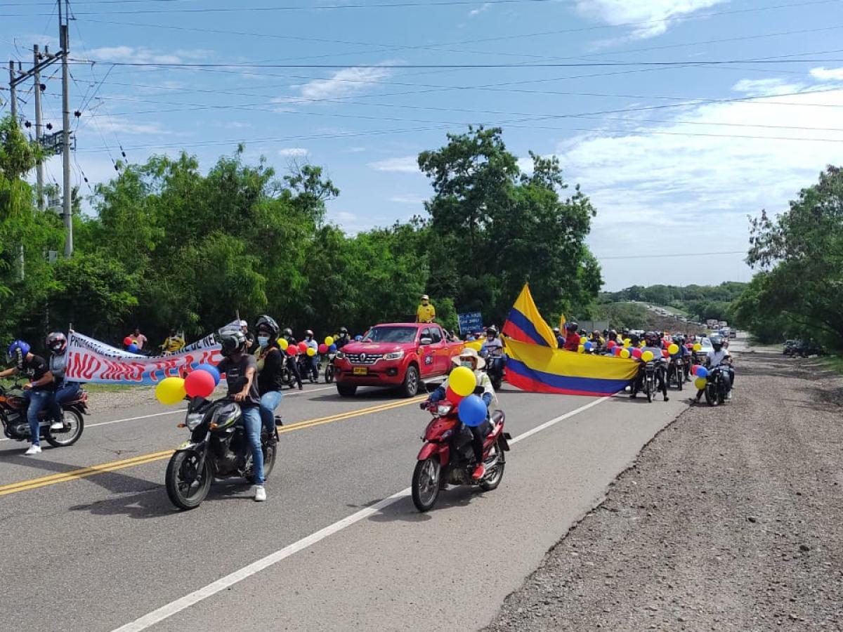 Manifestantes en las carreteras del Huila